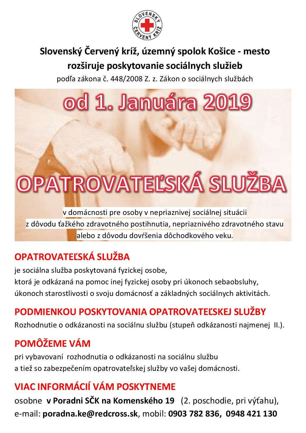 Od 1.januára 2019 rozbieha Červený kríž ďalšiu sociálnu službu: OPATROVATEĽSKÁ SLUŽBA. Poskytovať ju budú pracovníci aj vobciach do 20 km od mesta Košice. Červený kríž záujemcom oopatrovateľskú službu pomôže pri vybavovaní potrebných žiadostí atiež priamo zabezpečí opatrovateľskú službu vdomácnosti klienta. Vprípade, že budete potrebovať bližšie informácie alebo budete poznať niekoho, kto je na túto službu […]