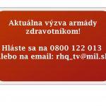 Ak ste lekár, zdravotná sestra, či laborant a chcete pomôcť pri víkendovom celoštátnom testovaní, prosíme vás, aby ste sa expresne prihlásili na telefónne číslo 0800 122 013 a email ministerstva obrany rhq_tv@mil.sk ĎAKUJEME!